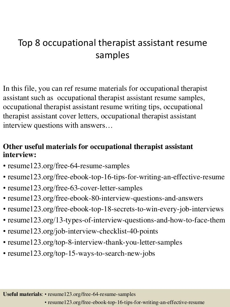 Occupational Therapy Sample Resume Cover Letters For Occupational Samples  Of Skills For Resume