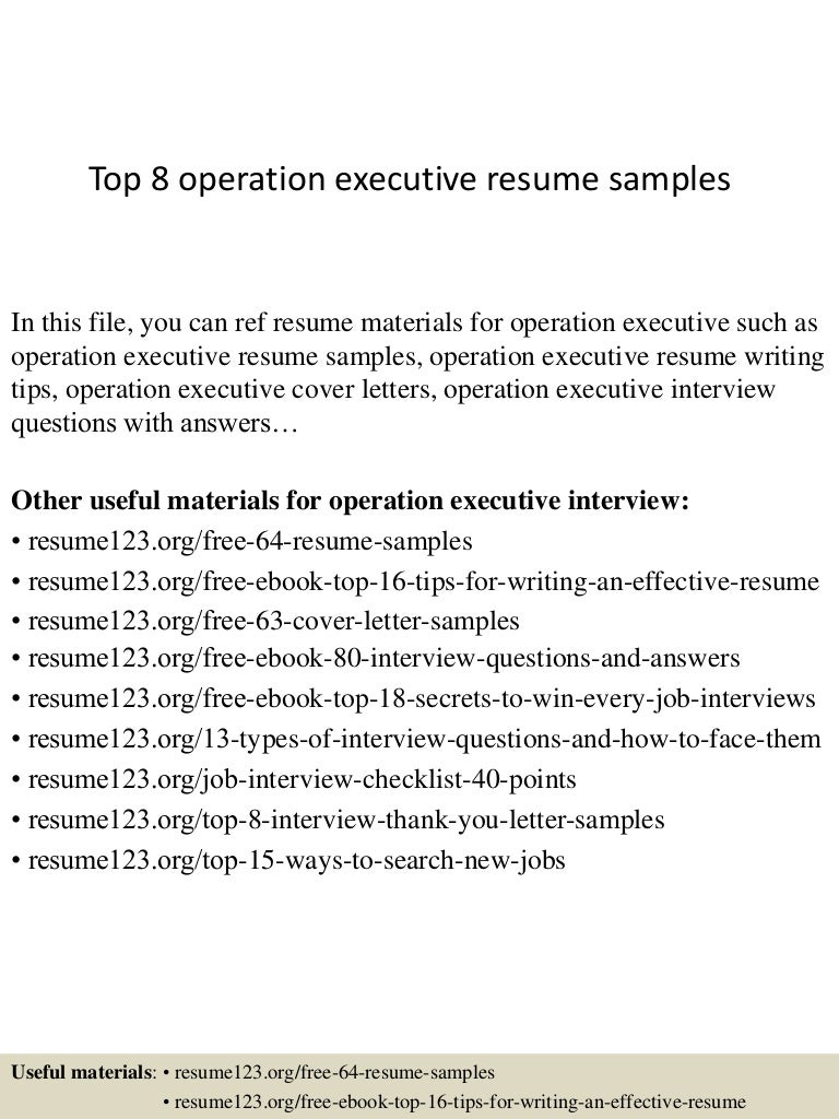 Top 8 operation executive resume samples