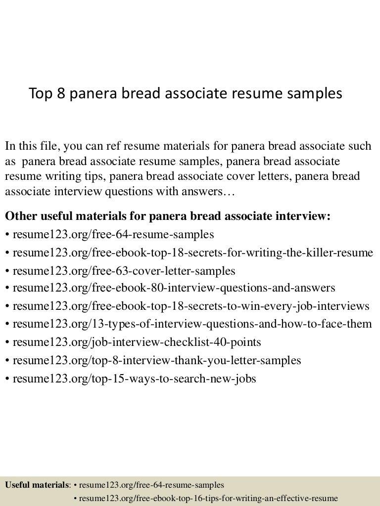 Top 8 panera bread associate resume samples