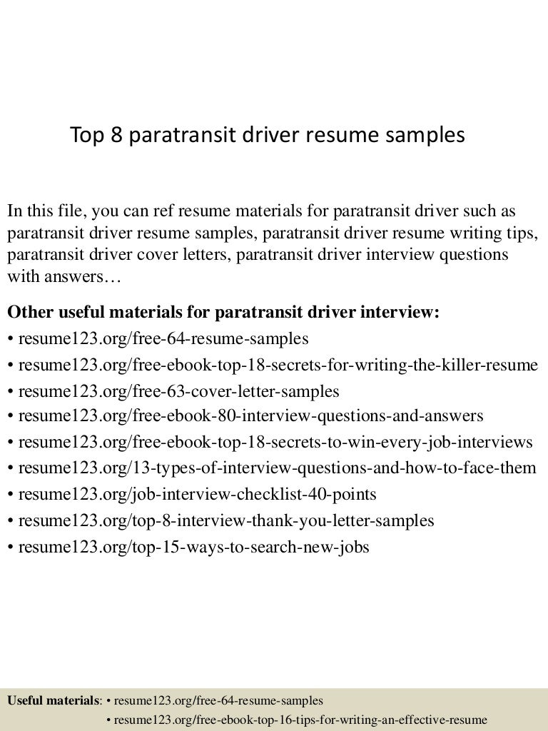 top8paratransitdriverresumesamples 150529092217 lva1 app6891 thumbnail 4 jpg cb 1432891380