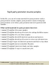 Top 8 Events Promoter Resume Samples