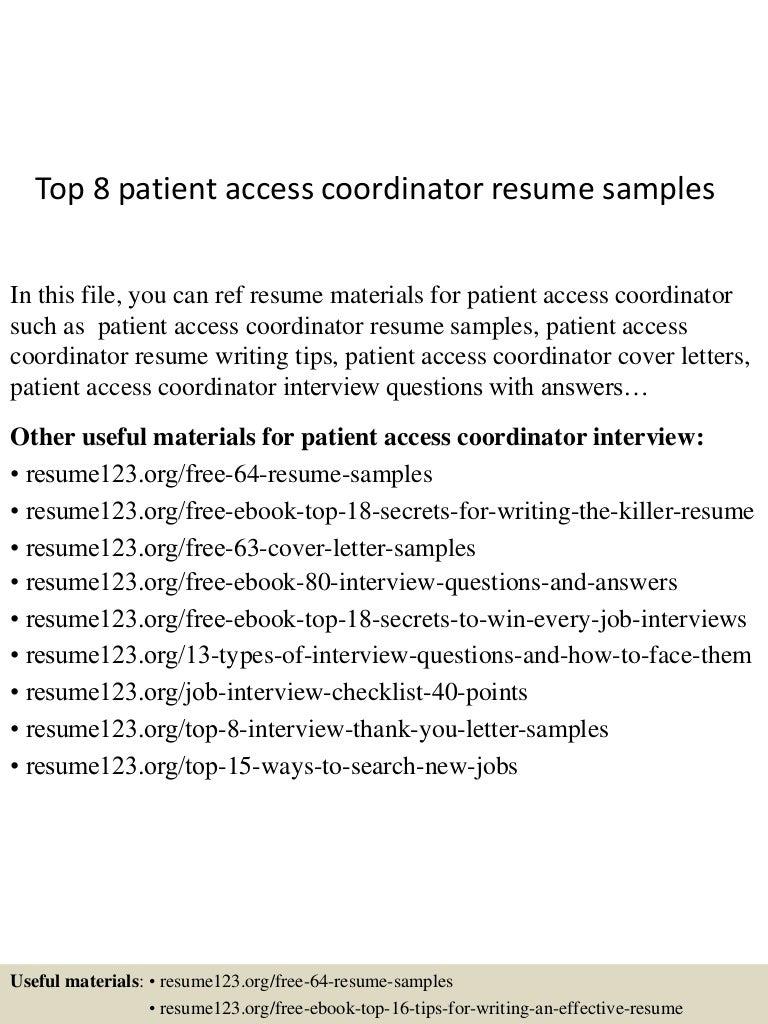 Top 8 patient access coordinator resume samples