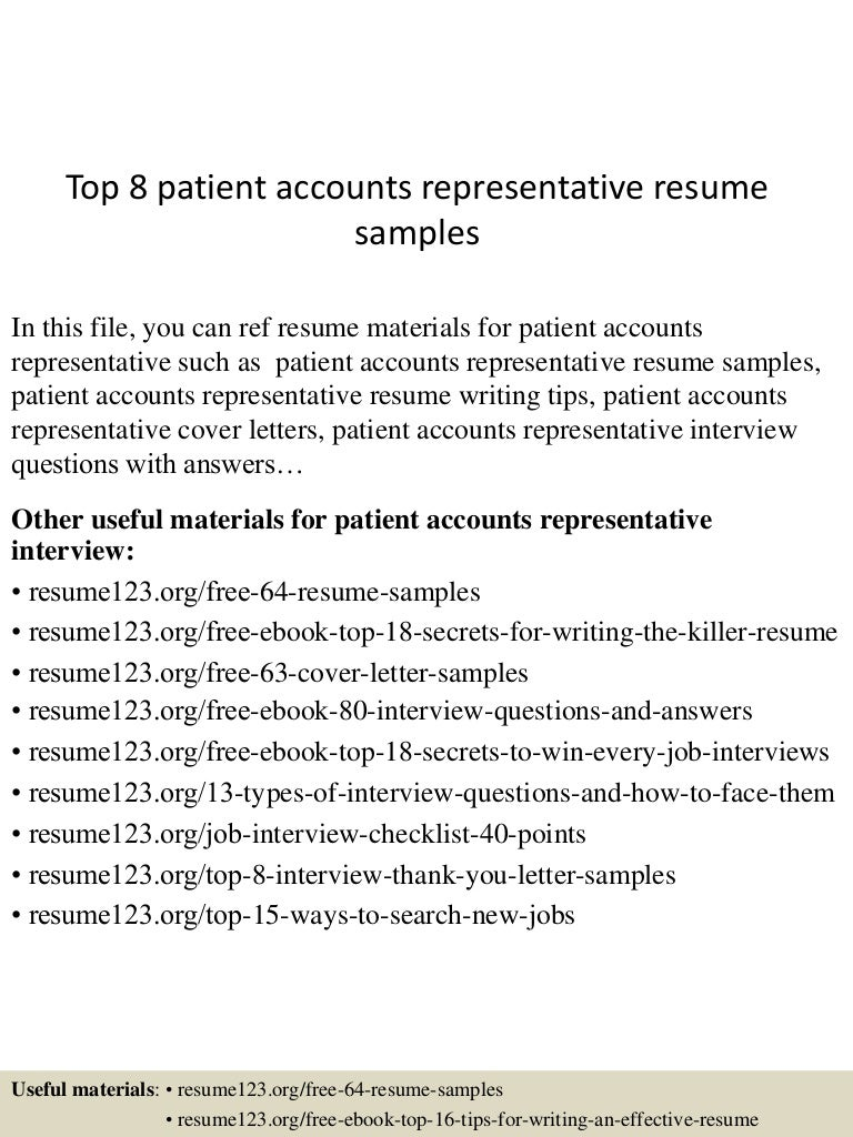 top8patientaccountsrepresentativeresumesamples 150705140339 lva1 app6891 thumbnail 4jpgcb1436105076 - Account Representative Cover Letter