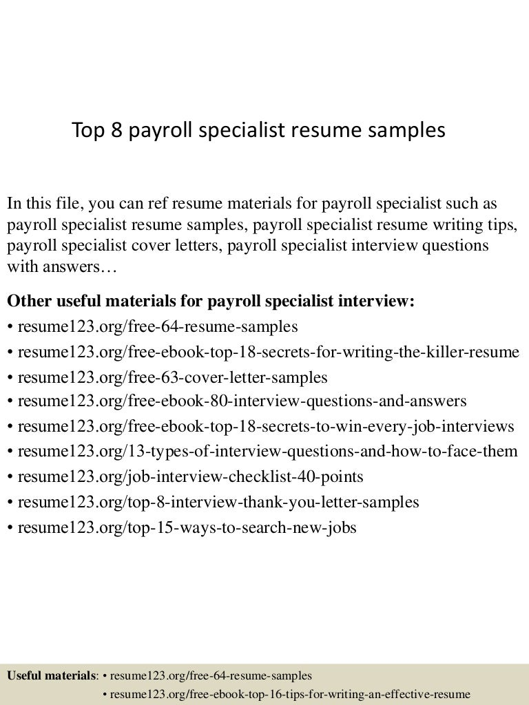 Job Resume Objective Payroll Specialist Resume Sample Payroll Resume Resume  Template Essay Sample Free Essay Sample  Payroll Specialist Resume