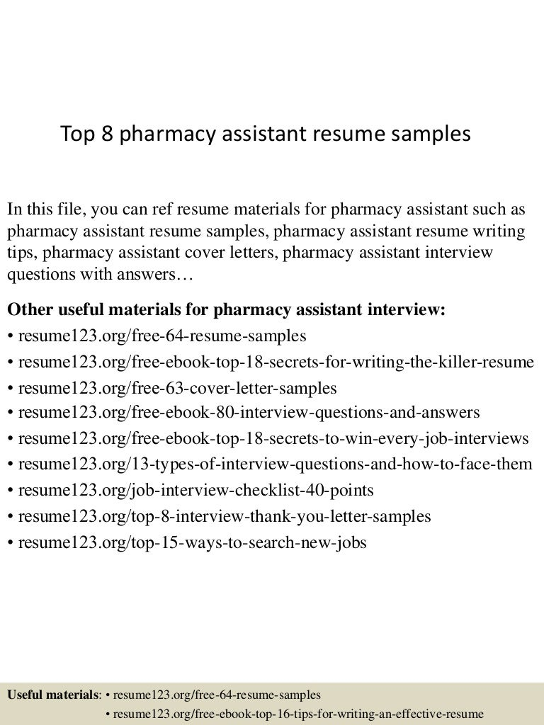 Top 8 pharmacy assistant resume samples