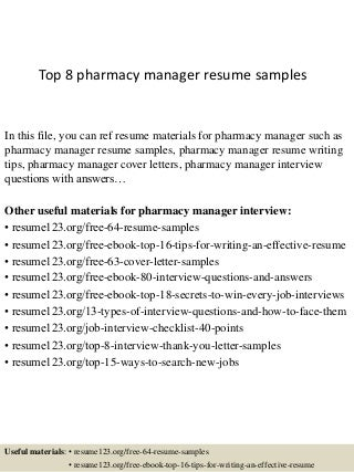 Pharmacy Resume sample resume hospital pharmacist resume exles pharmacy manager Top 8 Pharmacy Manager Resume Samples