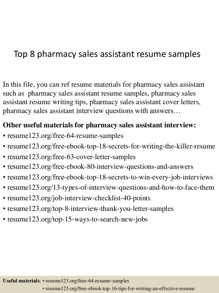 top8pharmacy sassistantresumesamples 150707012856 lva1 app6892 thumbnail 4 jpg cb 1436232578