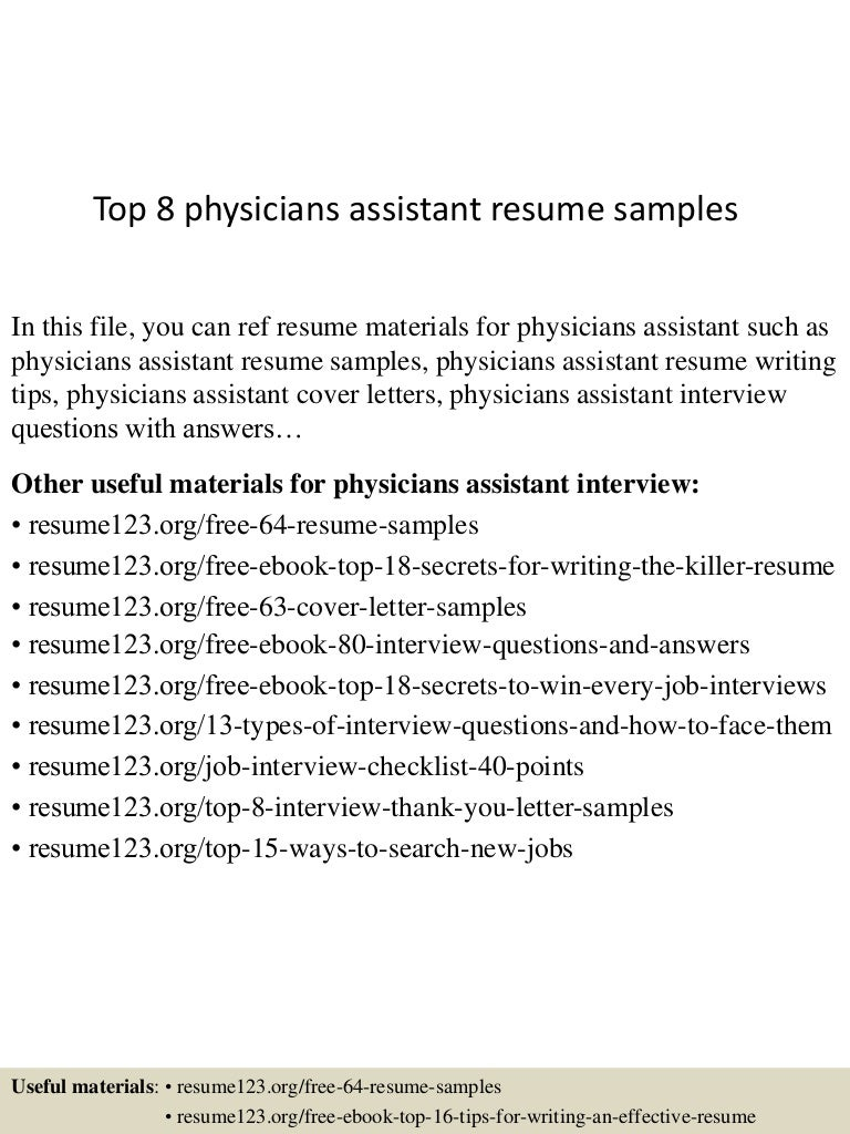 Resume physicians assistant