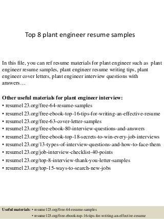 plant engineer resumes