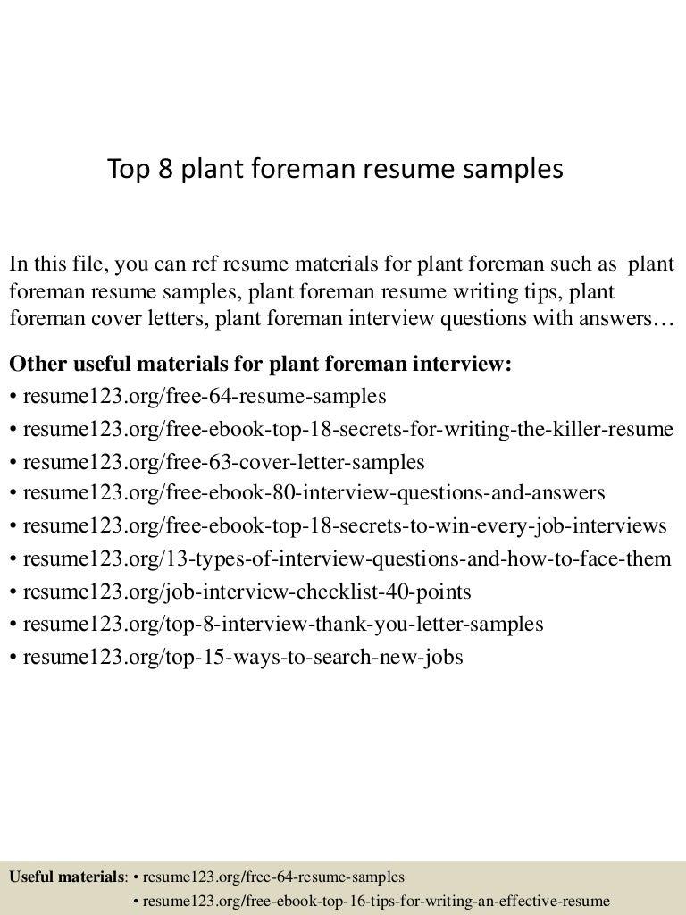 100 Construction Foreman Resume Sample 100 Resume Samples