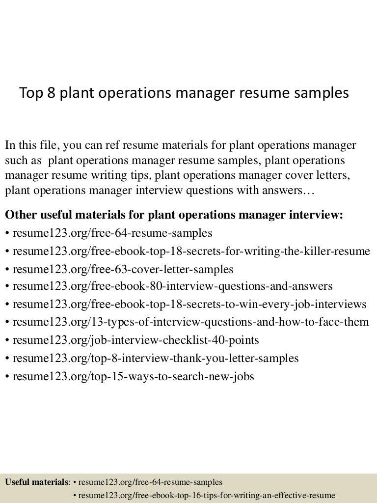 SlideShare  Plant Manager Resume