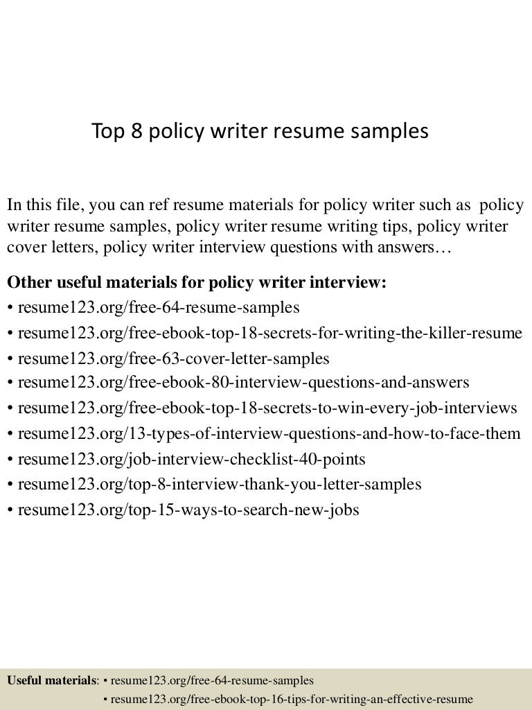 top8policywriterresumesamples 150529092120 lva1 app6891 thumbnail 4jpgcb1432891820 - Writing Resume Samples