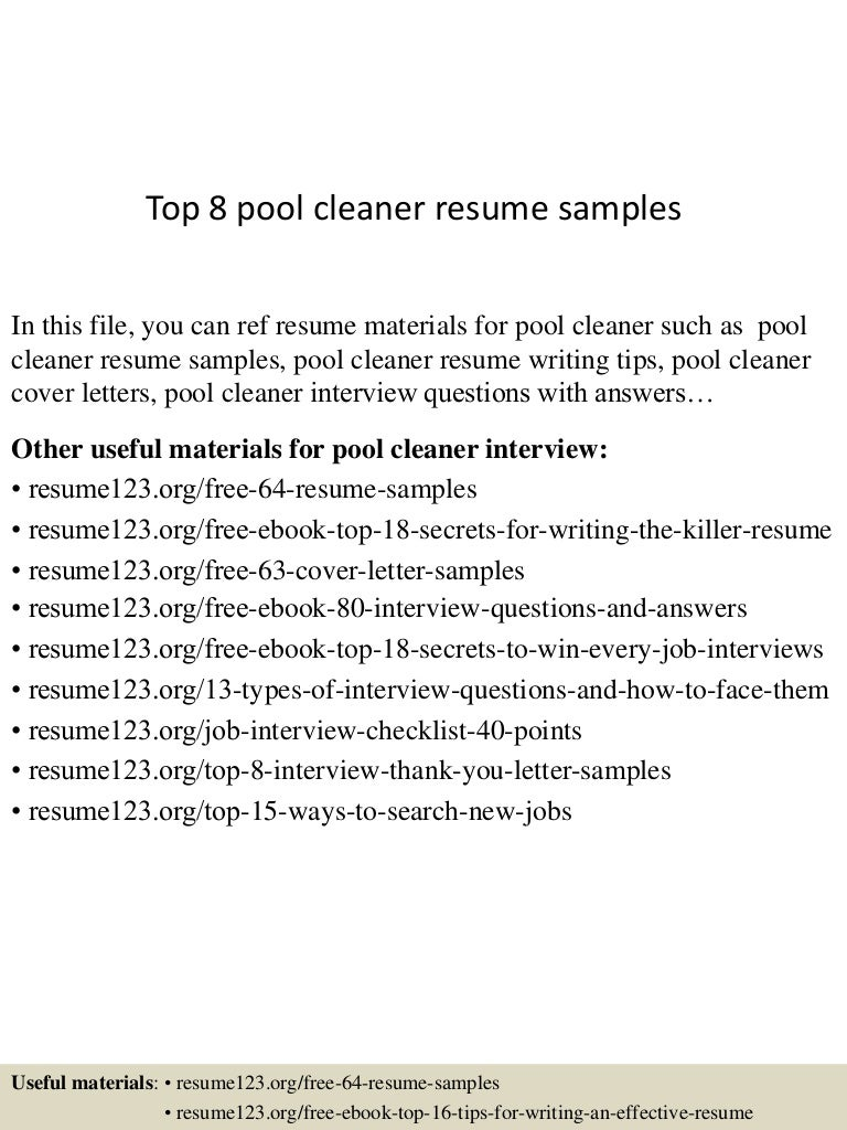 top8poolcleanerresumesamples 150723084503 lva1 app6892 thumbnail 4jpgcb1437641155 - Cleaner Cover Letter