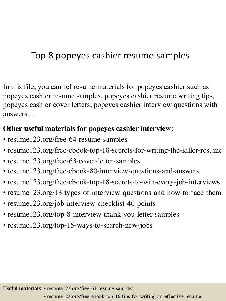 Top 8 Popeyes Cashier Resume Samples