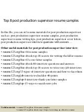 Top 8 Post Production Supervisor Resume Samples