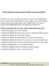 top 8 praise and worship leader resume samples