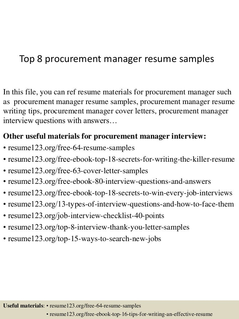 top8procurementmanagerresumesamples 150426010231 conversion gate02 thumbnail 4 jpg cb 1430010618