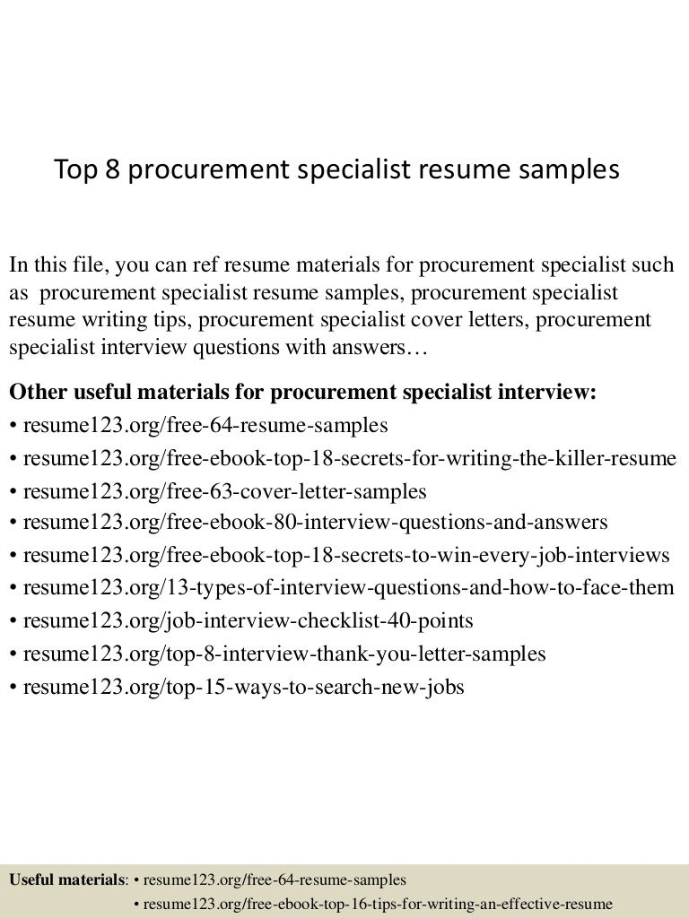 procurement specialist resumes cipanewsletter top8procurementspecialistresumesamples 150426010508 conversion gate01 thumbnail 4 jpg cb u003d1430010343 from slideshare net