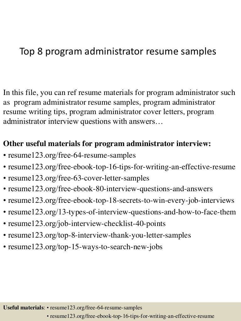 Top 8 program administrator resume samples top8programadministratorresumesamples 150409001537 conversion gate01 thumbnail 4gcb1428556589 fandeluxe Choice Image