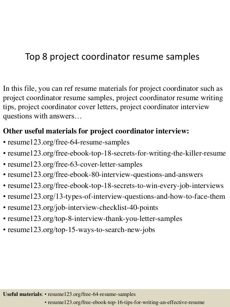 resume objective for project coordinator cipanewsletter top8projectcoordinatorresumesamples 150426010506 conversion gate02 thumbnail 4 jpg cb u003d1430028352 from slideshare net