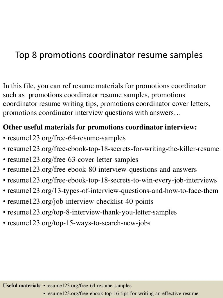top8promotionscoordinatorresumesamples 150509174155 lva1 app6892 thumbnail 4 promotions specialist cover letterhtml target team leader cover letter