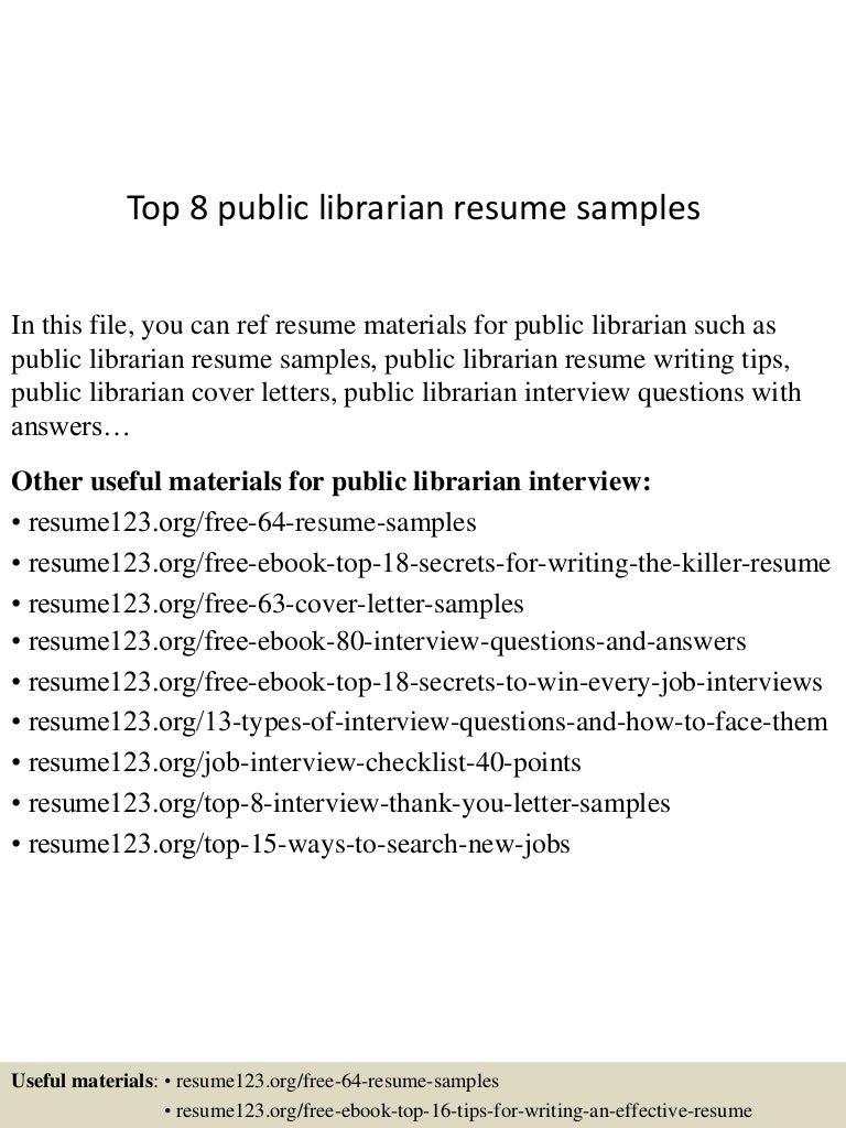 Top 8 public librarian resume samples