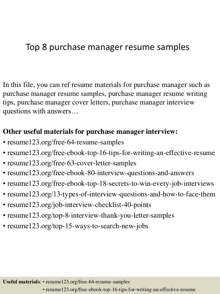 Top 8 purchase manager resume samples