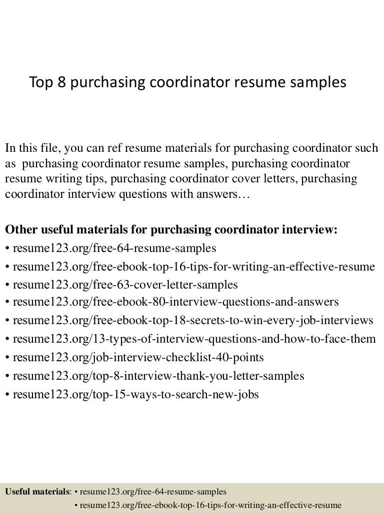 Resume Purchase Coordinator Resume top8purchasingcoordinatorresumesamples 150331221739 conversion gate01 thumbnail 4 jpgcb1427858304