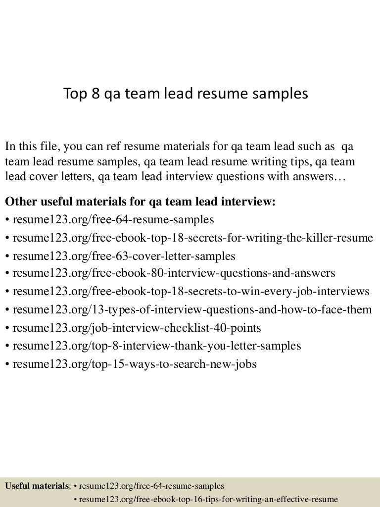Top 8 qa team lead resume samples