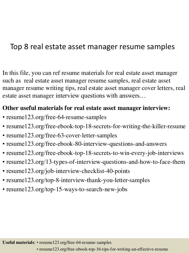top8realestateassetmanagerresumesamples 150514020410 lva1 app6892 thumbnail 4jpgcb1431569106 - Asset Manager Resume Sample