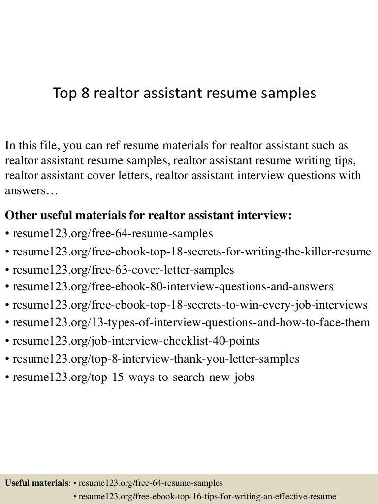 sample resume realtor assistant cipanewsletter top8realtorassistantresumesamples 150512233112 lva1 app6892 thumbnail 4 jpg cb u003d1431473516 from slideshare net
