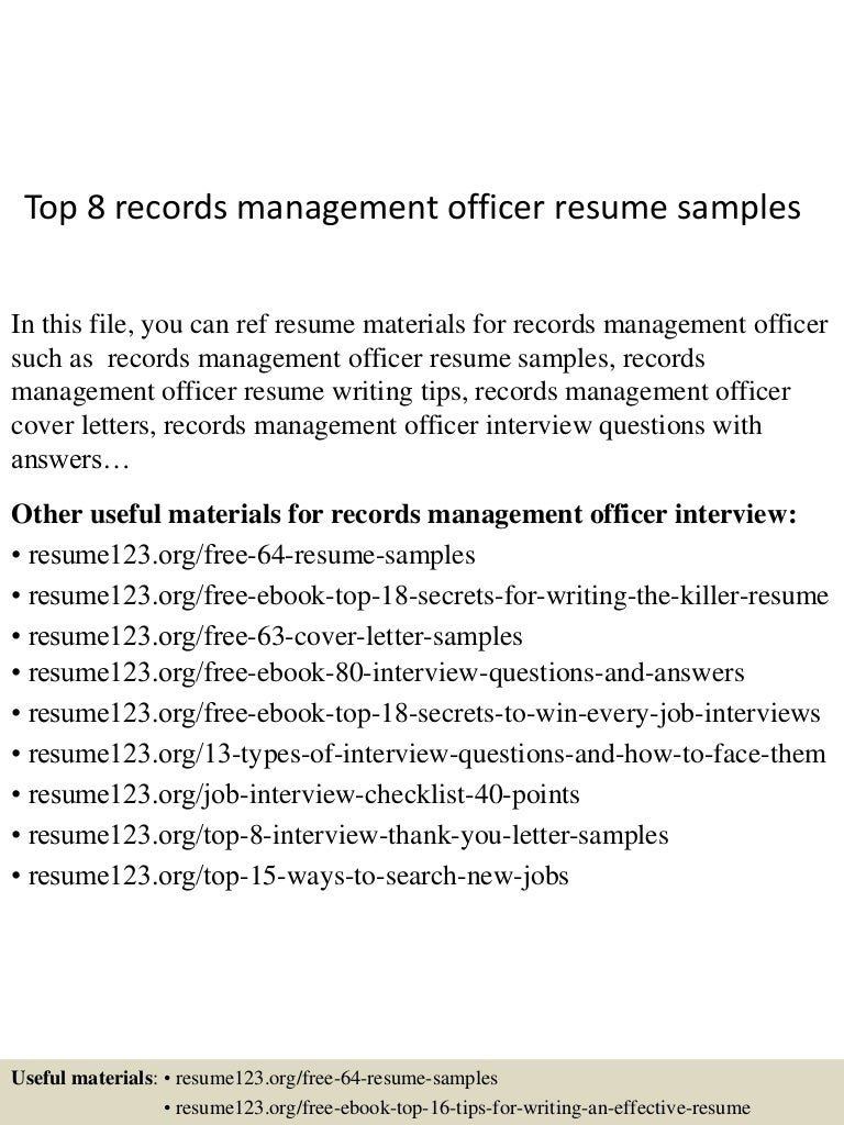 Top 8 Records Management Officer Resume Samples