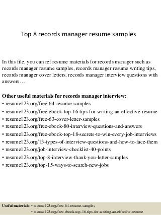 records manager cover letter