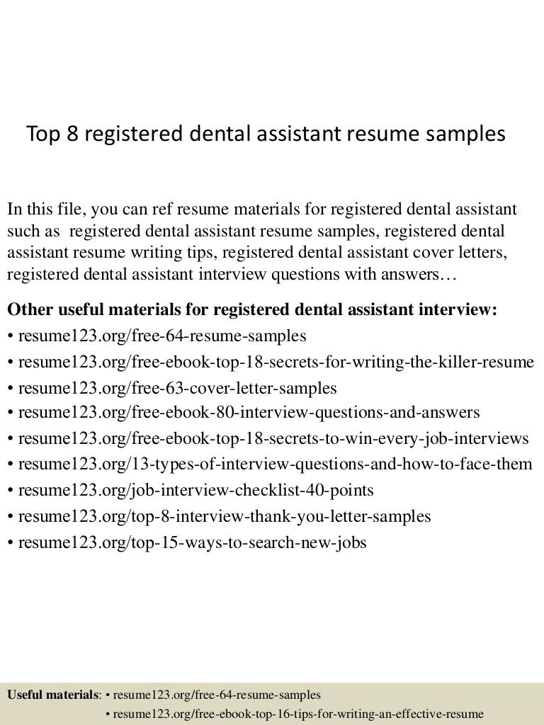 Top 8 Registered Dental Assistant Resume Samples