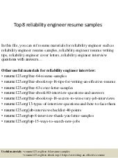 top 5 reliability engineer interview questions with answers - Reliability Engineer Sample Resume