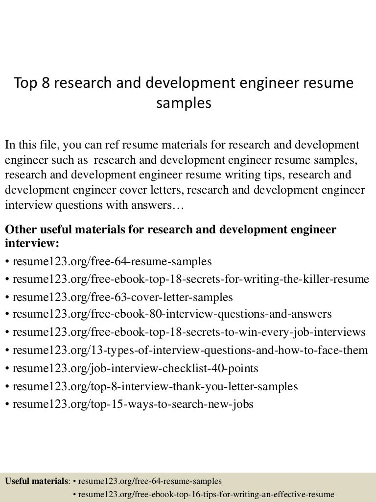Top 8 research and development engineer resume samples