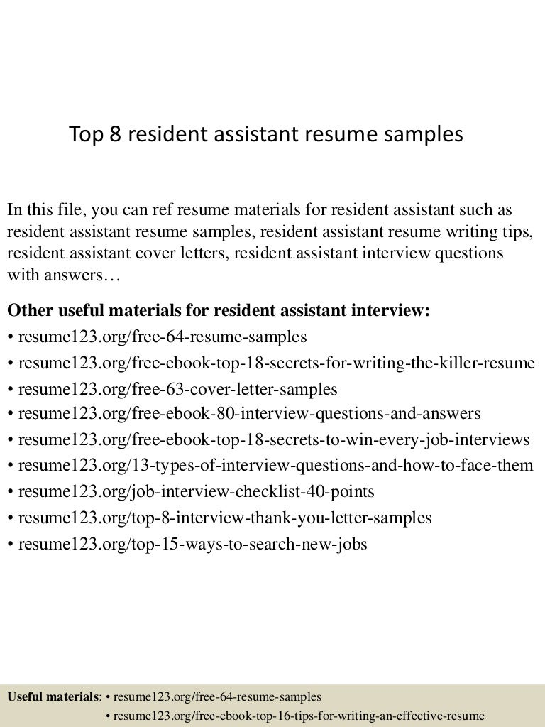 resume Resident Assistant Resume Example top8residentassistantresumesamples 150426010723 conversion gate02 thumbnail 4 jpgcb1430028496