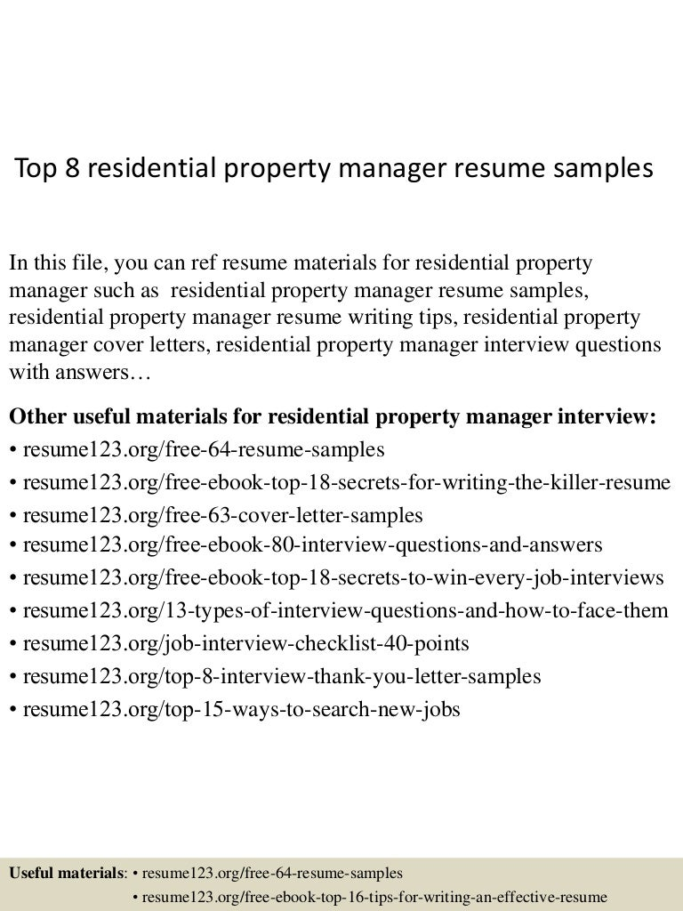 Top 8 Residential Property Manager Resume Samples