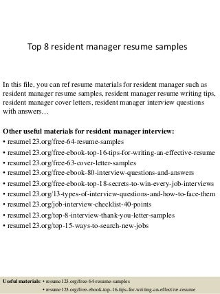 Project Manager Real Estate Resume Entry Level Management Resumes For Managers Residential Property