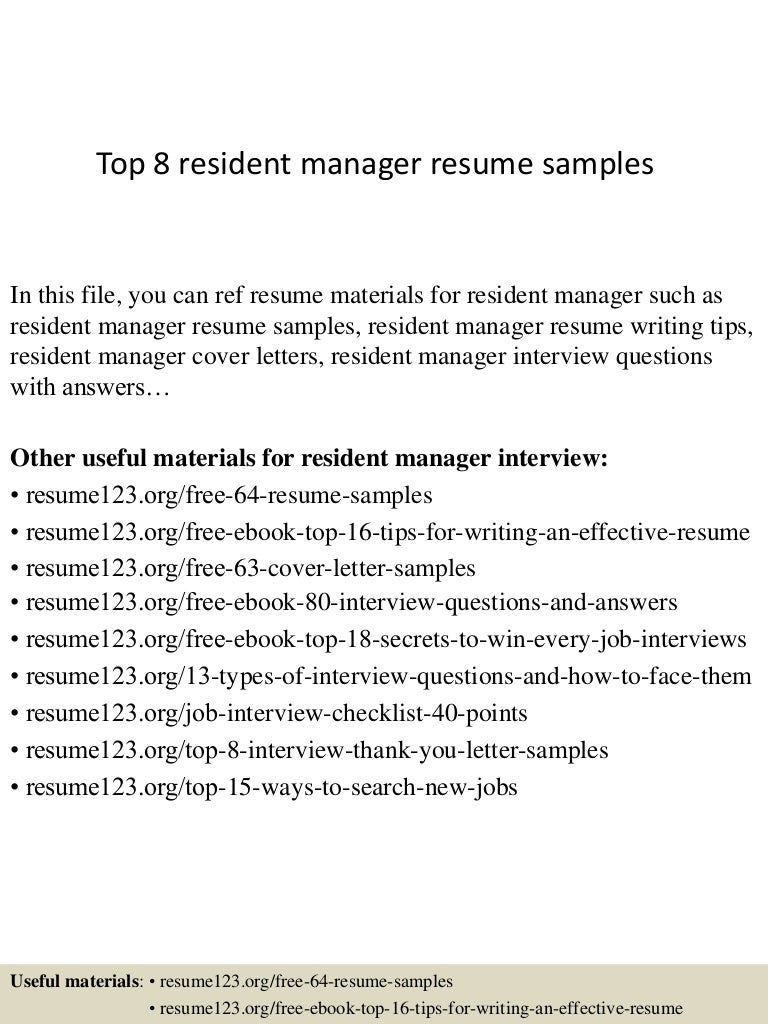 Top 8 resident manager resume samples