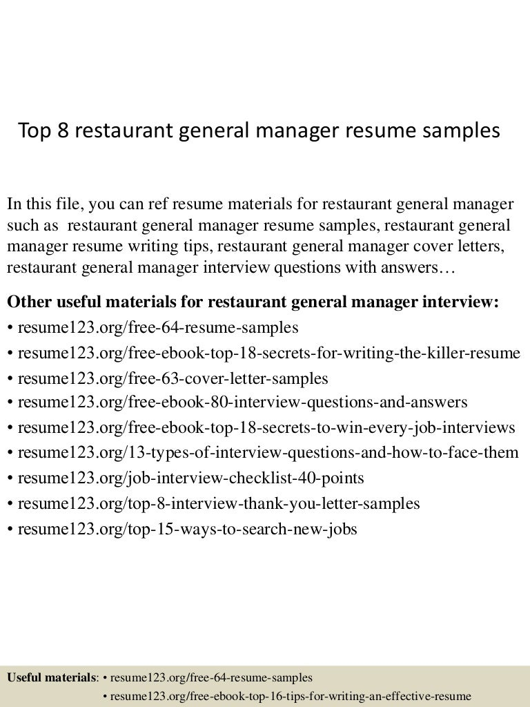 top8restaurantgeneralmanagerresumesamples 150426011025 conversion gate02 thumbnail 4 jpg cb 1430028668