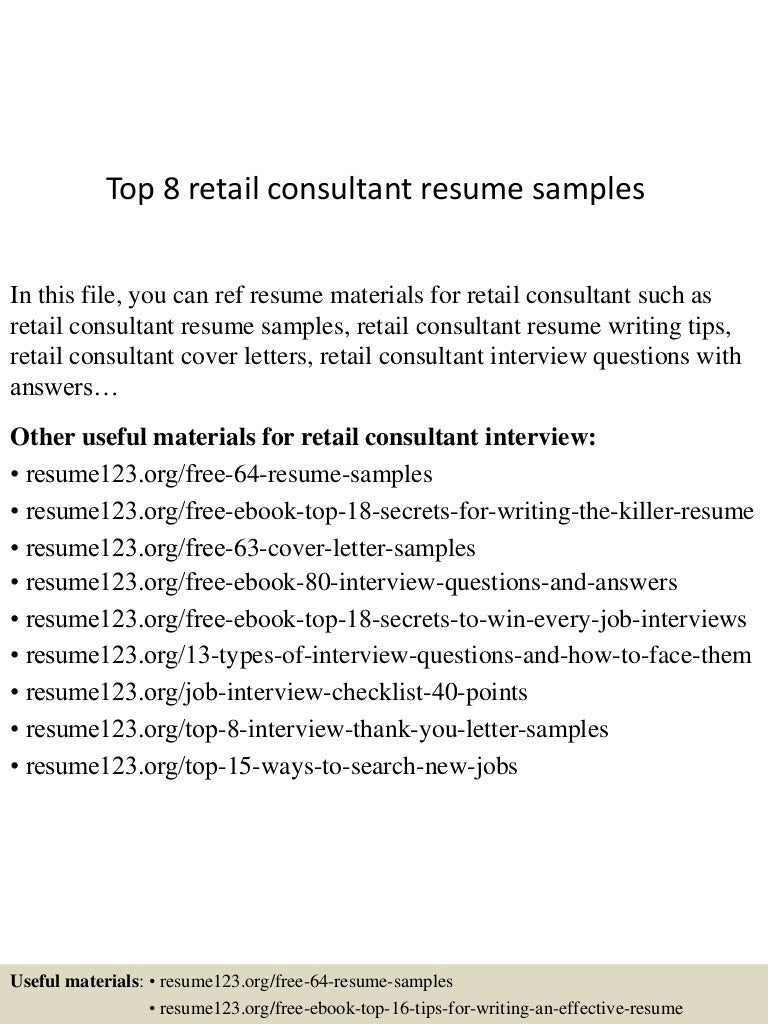Top 8 retail consultant resume samples