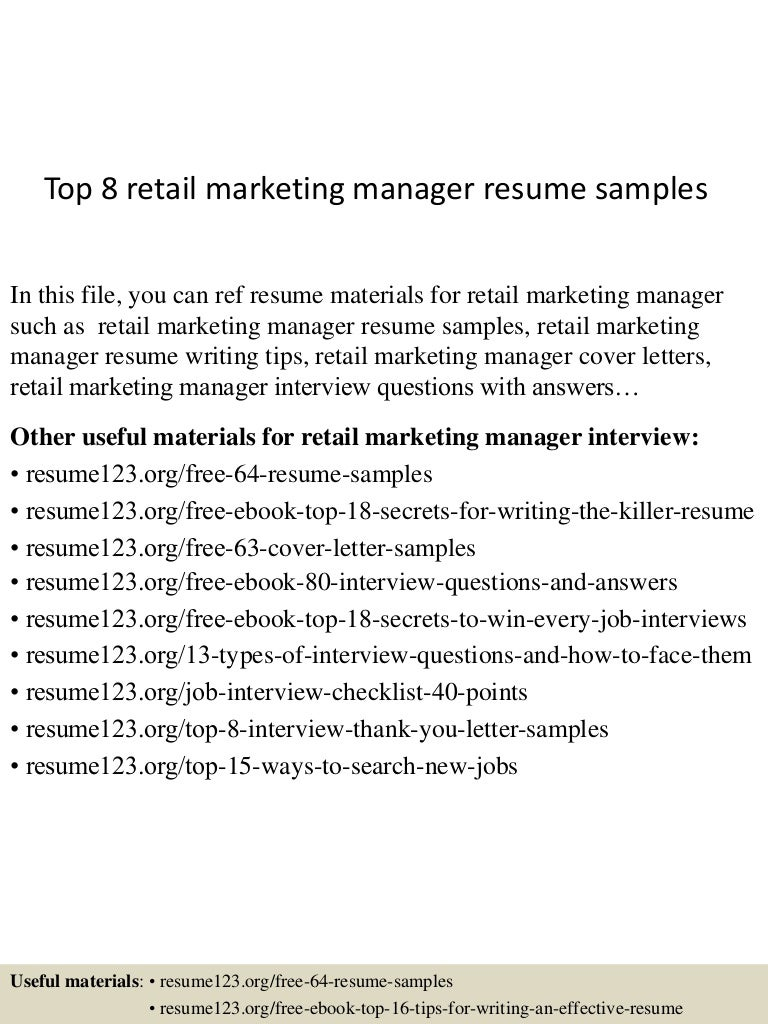 resume Retail Marketing Manager Resume top8retailmarketingmanagerresumesamples 150520140443 lva1 app6892 thumbnail 4 jpgcb1432130733