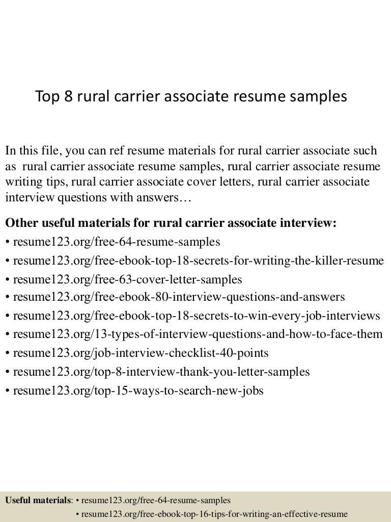 top8ruralcarrierassociateresumesamples 150508032308 lva1 app6892 thumbnail 4jpgcb1431055436 - Letter Carrier Resume Templates