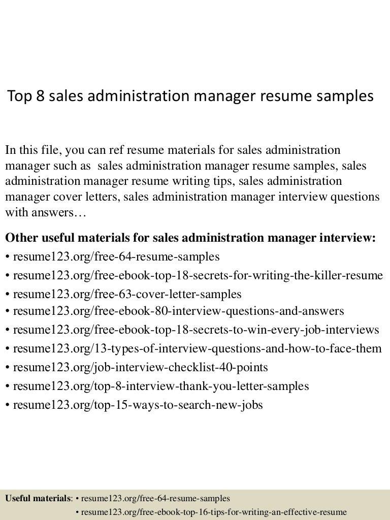 top8salesadministrationmanagerresumesamples 150521071115 lva1 app6892 thumbnail 4jpgcb1432192329 - Sample Resume Of Sales Administration Manager