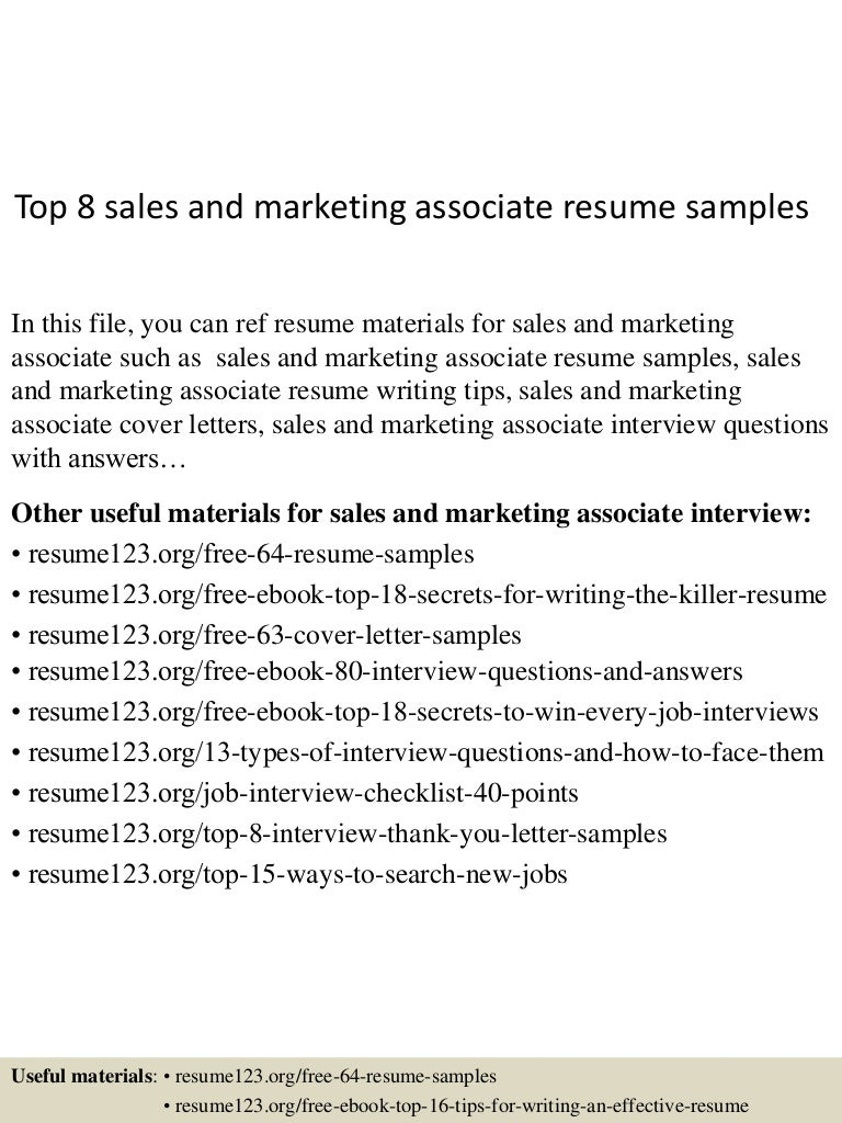 Top 8 Sales And Marketing Associate Resume Samples