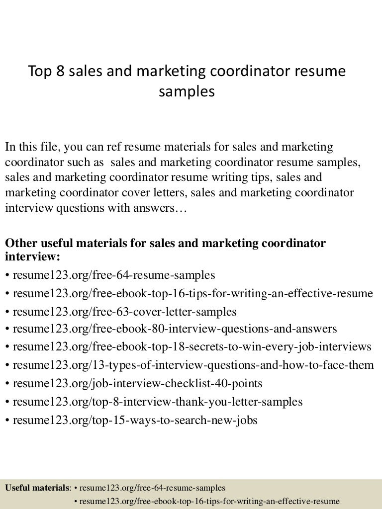 top8 sandmarketingcoordinatorresumesamples 150406201130 conversion gate01 thumbnail 4 jpg cb 1428369136