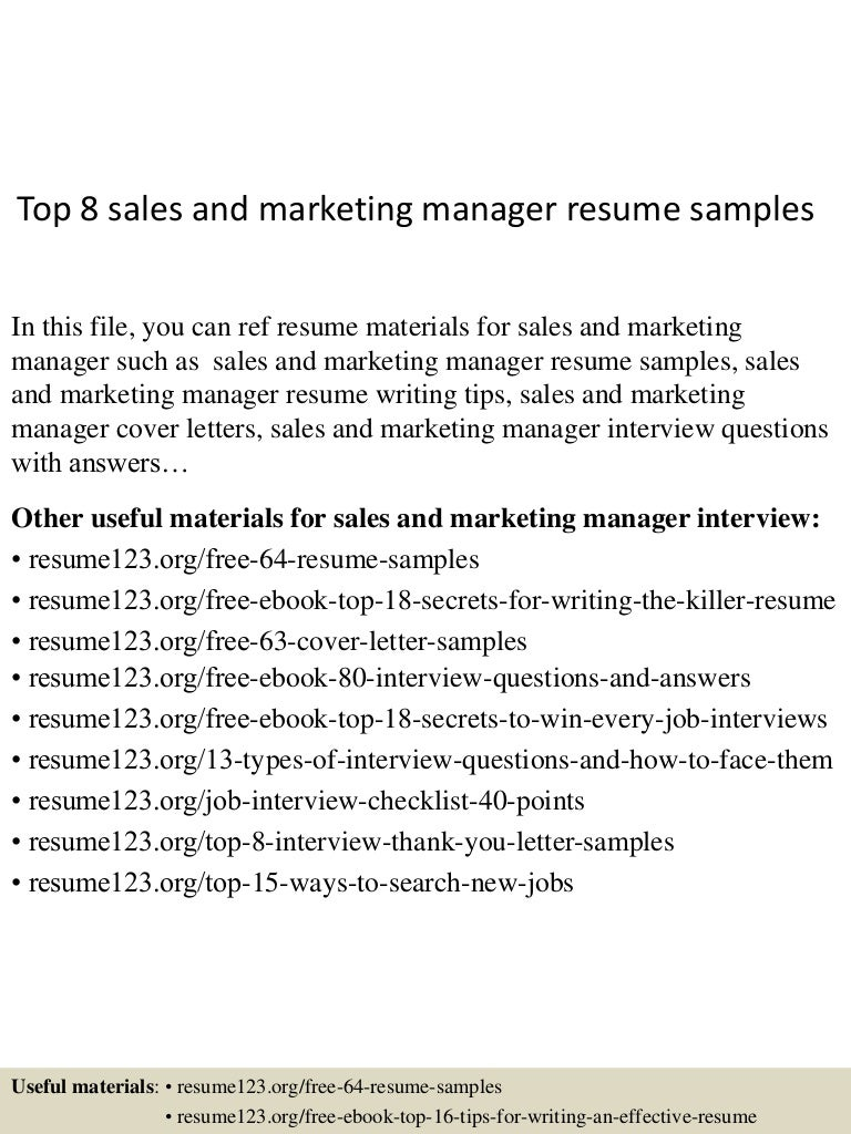 top 8 sales and marketing manager resume samples