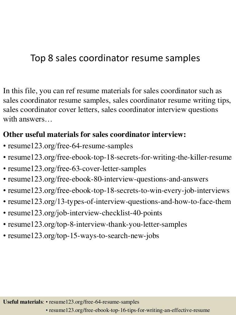 resume Sales Coordinator Resume top8salescoordinatorresumesamples 150426011549 conversion gate01 thumbnail 4 jpgcb1430016255