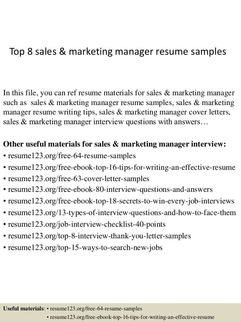 Top 8 sales & marketing manager resume samples
